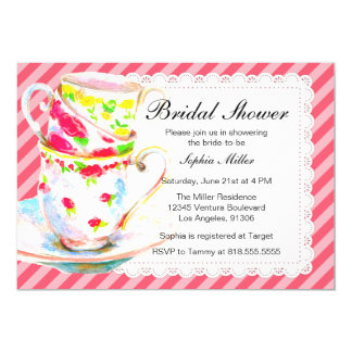 Bridal Shower Tea Party 5x7 Paper Invitation Card