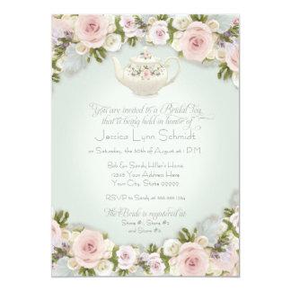 Bridal Shower Tea Party Blush Rose Succulent Leaf Card
