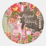 Bridal Shower Tea Party Bridal Shower Classic Round Sticker