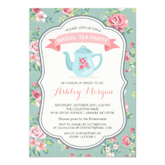 Bridal Shower Tea Party Elegant Vintage Floral Card
