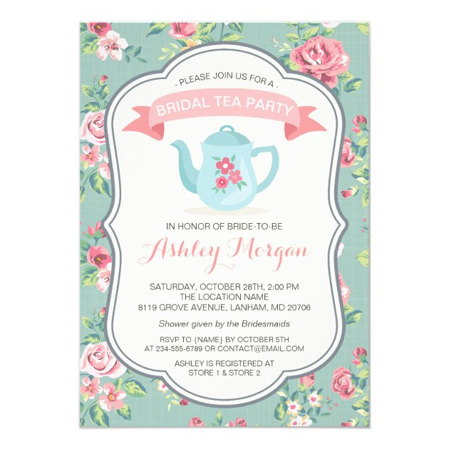 Bridal Shower Tea Party Elegant Vintage Floral Card