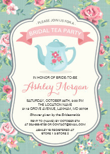 Tea bridal shower invitations zazzle bridal shower tea party elegant vintage floral invitation filmwisefo