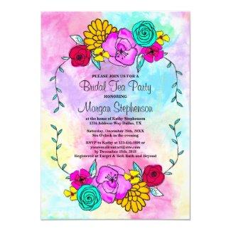 Bridal Shower Tea Party Floral Watercolor Colorful Invitation