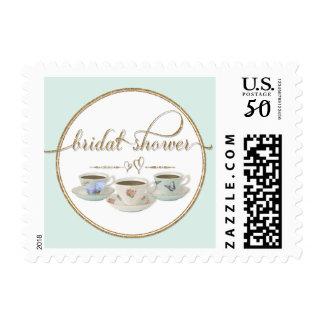 Bridal Shower Tea Party Hearts Tea Cups Aqua Blue Postage