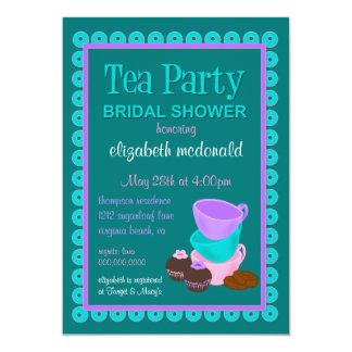 "Bridal Shower Tea Party Invitation 5"" X 7"" Invitation Card"