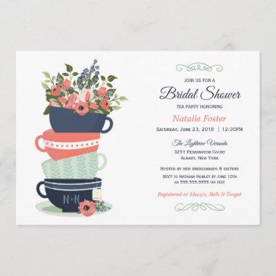 Bridal Shower Tea Party Invitation   Blue & Coral