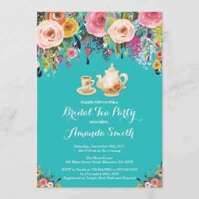 Bridal Shower Tea Party Invitation Floral