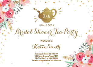 Bridal shower tea party invitations announcements zazzle bridal shower tea party invitation floral teapot filmwisefo