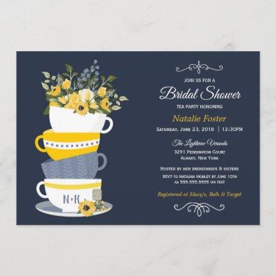 Bridal Shower Tea Party Invitation   Navy & Yellow