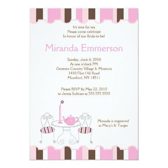Bridal Shower Tea Party Pink Stripe 5x7 Card