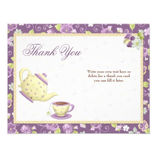 Bridal Shower Tea Party Thank You Card Invitation from Zazzle.com