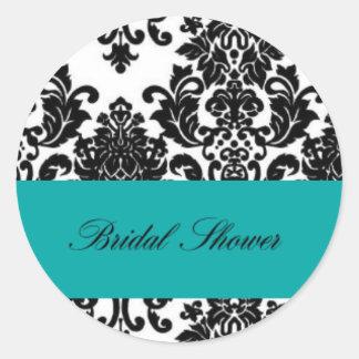 Bridal Shower Teal & Black Damask Round Circle Round Sticker