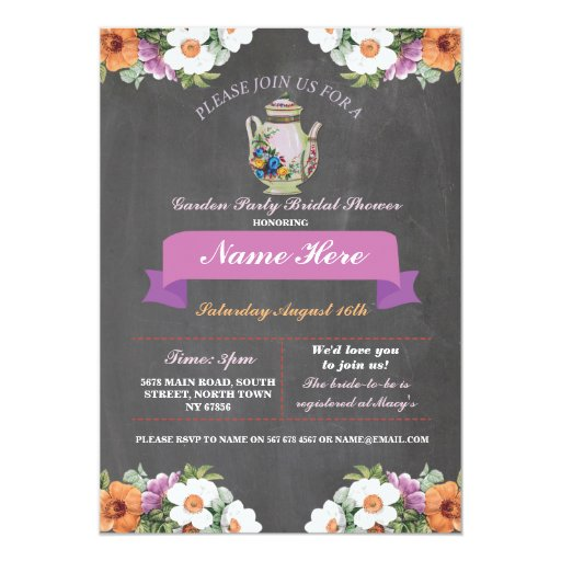 bridal shower teapot alice in wonderland invite zazzle. Black Bedroom Furniture Sets. Home Design Ideas