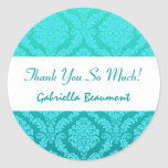 Bridal Shower Thank You Aqua and Teal Damask V33 Stickers