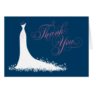 Bridal Shower Thank You Card Folded | Wedding Gown Note Card