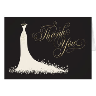 Bridal Shower Thank You Card Folded Wedding Gown