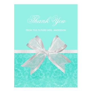 Bridal Shower Thank You Chic Aqua Damask White Bow Postcard