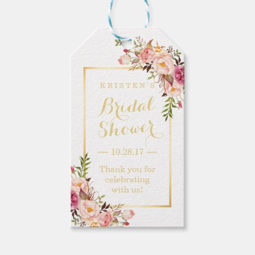 Thank You Wedding Shower Gift : Bridal Shower Thank You Elegant Chic Flowers Gift Tags Zazzle