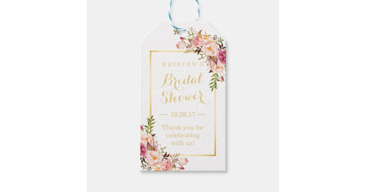 bridal shower thank you elegant chic flowers gift tags zazzlecom
