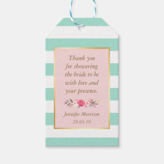 Bridal Shower Thank You Floral Pink Mint Stripes Gift Tags