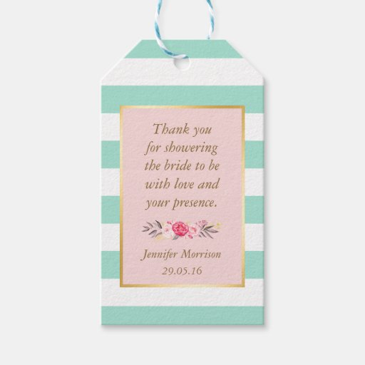 Thank You Wedding Shower Gift : Bridal Shower Thank You Floral Pink Mint Stripes Gift Tags Zazzle
