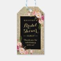 Bridal Shower Thank You Gold Glitter Pink Flowers Gift Tags