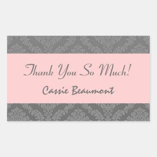 Bridal Shower Thank You Gray and Pink Damask V45A Rectangular Sticker