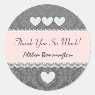Bridal Shower Thank You Gray Damask Hearts Lace V6 Round Sticker