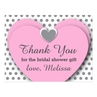 BRIDAL Shower Thank You Hearts Dots B07 PINK GRAY Postcard
