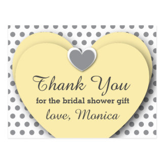 BRIDAL Shower Thank You Hearts Dots B8 YELLOW GRAY Postcard