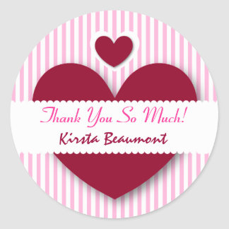 Bridal Shower Thank You Hearts PINK STRIPES A12 Classic Round Sticker