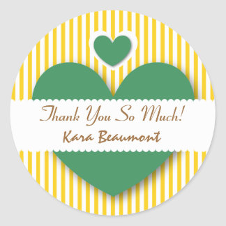 Bridal Shower Thank You Hearts YELLOW STRIPES A15 Classic Round Sticker