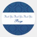 Bridal Shower Thank You Navy Blue Damask V08 Stickers