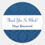 Bridal Shower Thank You Navy Blue Damask V46 Round Stickers