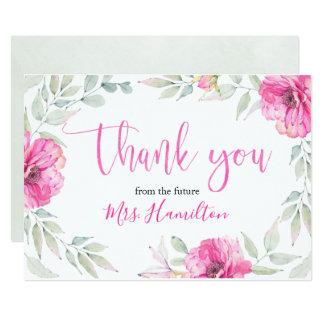 Bridal Shower Thank You Pink Botanical Floral Card
