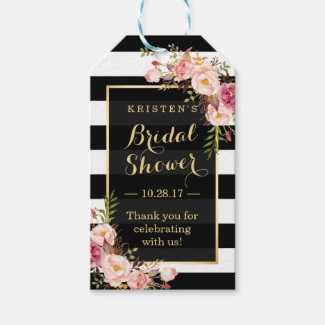 Bridal Shower Thank You Pink Floral Stripes Gift Tags