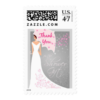 Bridal Shower Thank You Postage - Gray and Pink