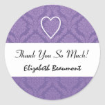 Bridal Shower Thank You Purple Damask V001J Round Stickers