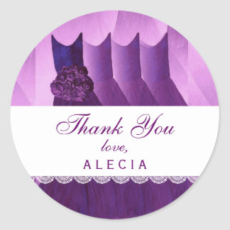 Bridal Shower Thank You PURPLE Gowns V04 Stickers