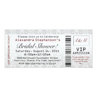 "Bridal Shower Ticket Invitations 4"" X 9.25"" Invitation Card"