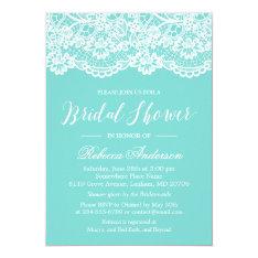 Bridal Shower Tiffany Blue Elegant Lace Pattern Card at Zazzle