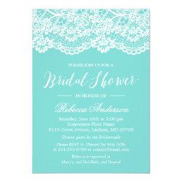 Bridal Shower Tiffany Blue Elegant Lace Pattern Card