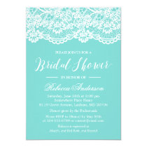 Bridal Shower Tiffany Blue Elegant Lace Pattern Invitation