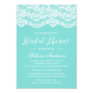 Bridal Shower Tiffany Blue Elegant Lace Pattern Invitation