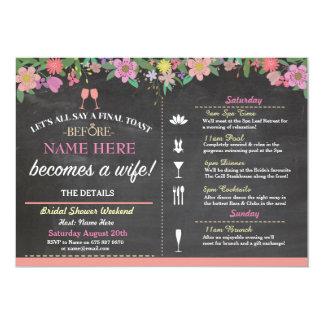 Bridal Shower Toast Floral Pink Chalk Invite