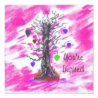 Bridal Shower Tree of Love Pink Wedding Invitation
