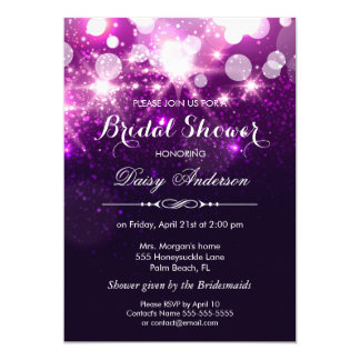 Bridal Shower - Trendy Purple Glitter Sparkles 5x7 Paper Invitation Card