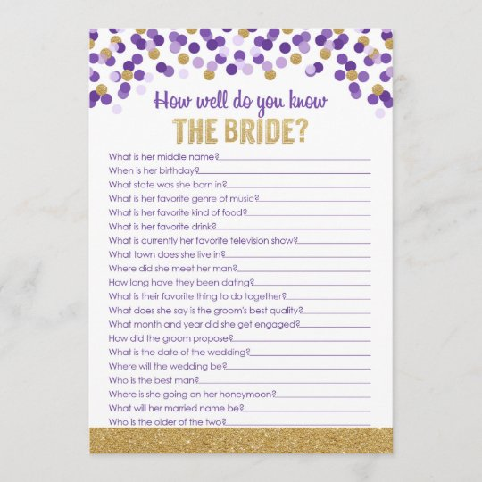 bridal shower trivia game purple and gold