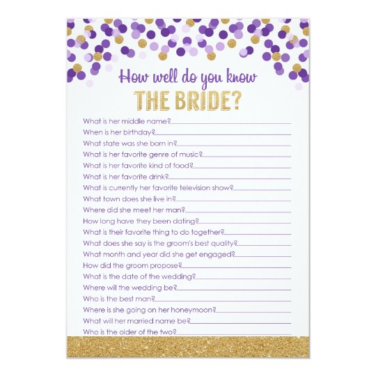 Bridal Shower Trivia Purple And Gold Card