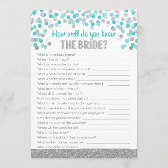 bridal shower trivia game silver and turquoise